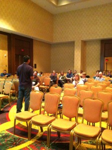 Nativity science coordinator Elijah Bonde leads a follow-up discussion at the NSTA Conference in San Antonio in April.