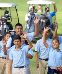 Nativity students attend the golf tournament each year to extend a personal thank you to the golfers and volunteers.