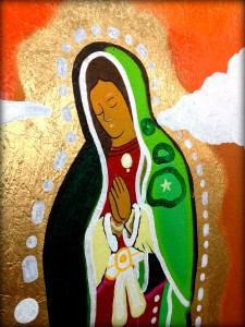 The mixed-media installation of the Virgin de Guadalupe serves as the centerpiece of the new mural on the Nativity campus.